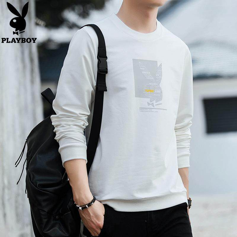 02d556ee Play Boy 2018 Fashion Men's Long-sleeved Casual T-shirt Personality LOGO  Printing