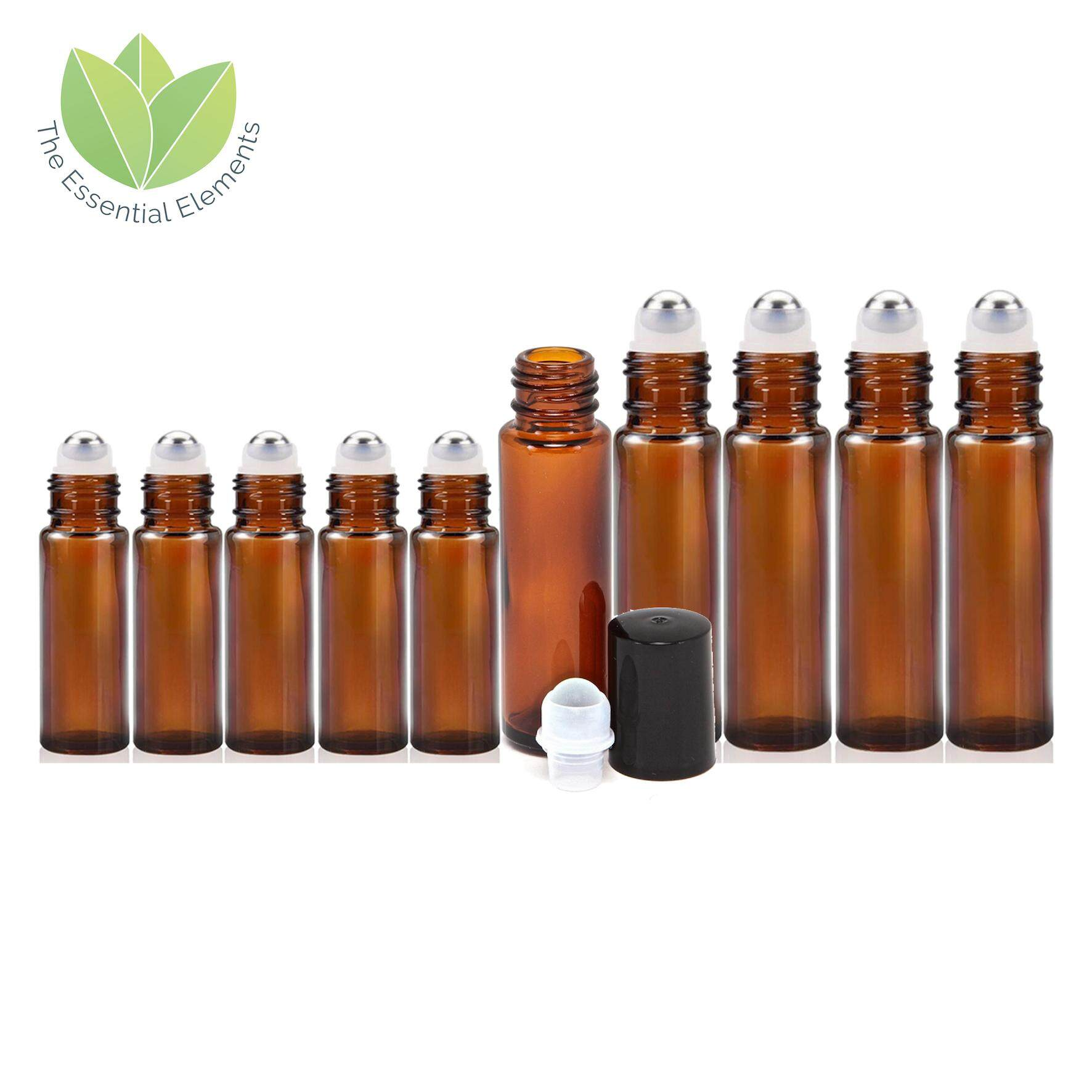 f69a3b3e5ea2 The Essential Elements 5pcs 10ml and 5pcs 5ml [THICK] Amber Glass Bottle  for Essential Oil Liquid with Metal Roller Ball