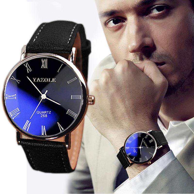 Luxury Fashion Faux Leather Mens Quartz Analog Watch Watches Black Radocie By Radocie.