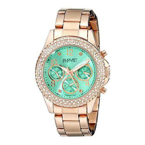 a627d67344be  August Steiner  August Steiner Women s AS8136GN Rose Gold Multifunction  Quartz Watch with Light Green