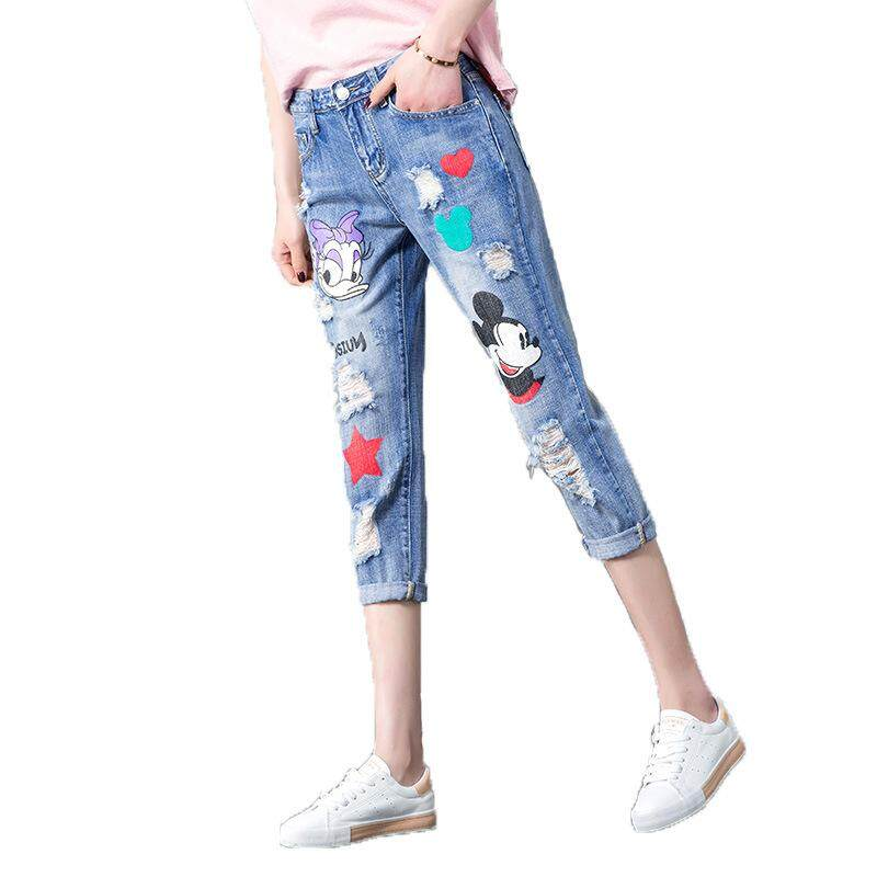 8a4f902b4 Patch Cartoon Mickey Mouse Jeans Printed Ripped Boyfriend Jeans For Women  Casual Harem Pants Jeans Loose