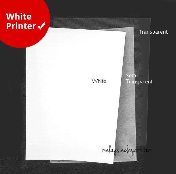 1 X Pcs Heat Shrink Sheet White - Printer Friendly By Malaysia Clay Art.