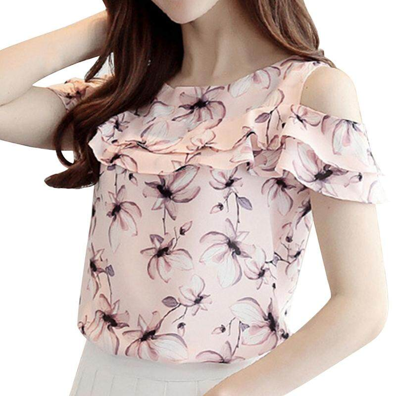 210189159c0f Women Summer Off Shoulder Short Sleeve Blouses Print Floral Chiffon Shirts  Casual Ladies Clothing