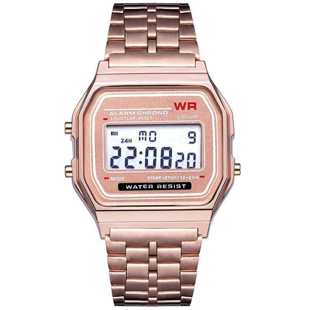 Tailored LED Digital Waterproof Quartz Wrist Watch Dress Golden Wrist Watch Women Men Malaysia
