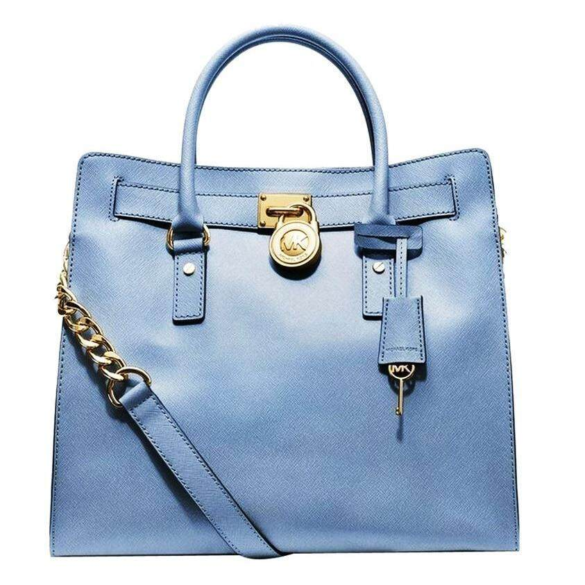 c8d59374639 ORIGINAL MICHAEL KORS Hamilton Saffiano Leather Large N S Tote Bag -  CORNFLOWER