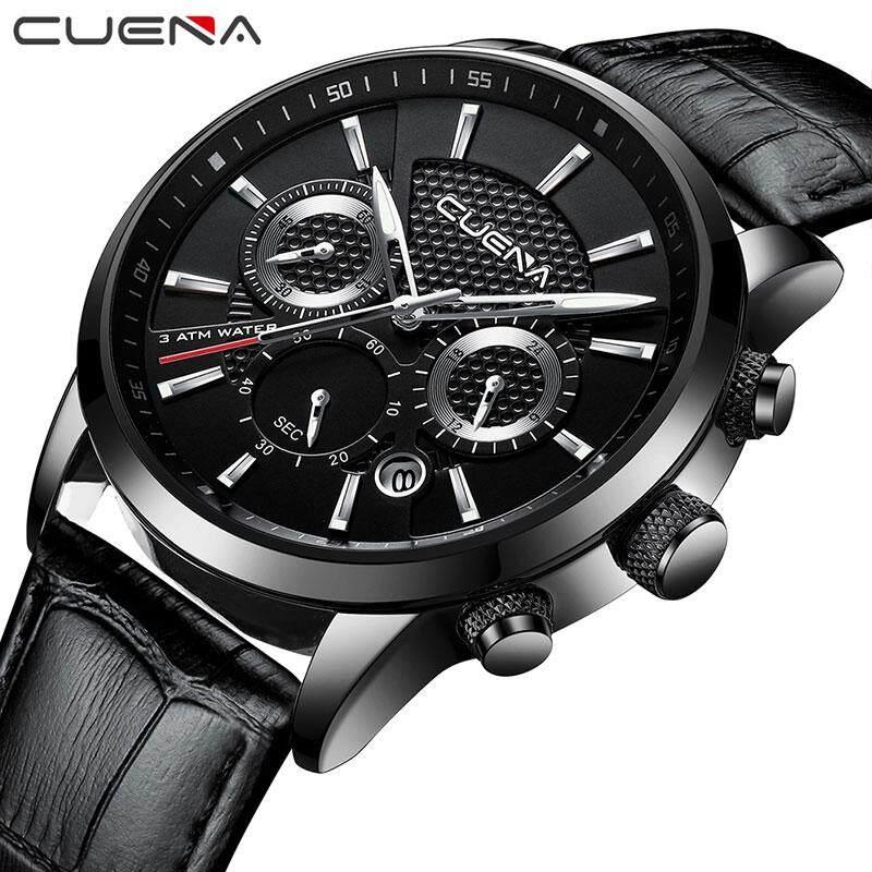 2018 CUENA Men WatcheLuxury Quartz Gold Clock Sport Watch Men Casual Leather Waterproof BusinesWatch Malaysia