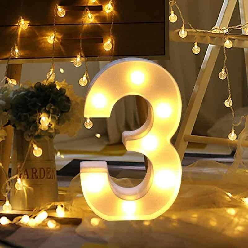LED Warm White Light Up Numbers Hanging