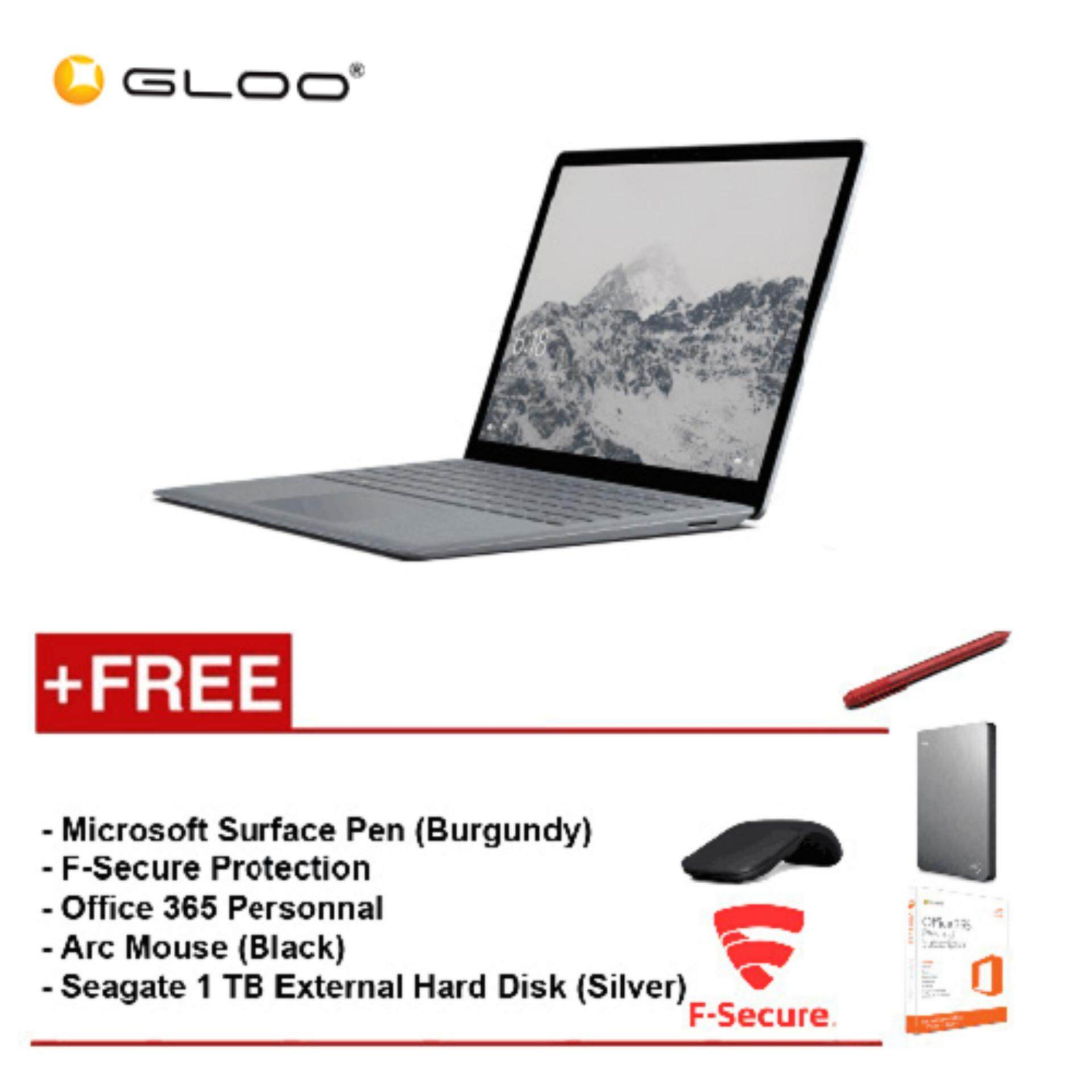 Surface Laptop Core i7/16GB RAM - 512GB + F-Secure End Point Protection + Office 365 Personal + Arc Mouse Black + Microsoft Surface Pen Burgundy + Seagate 1TB Hard Disk Drive Silver Malaysia