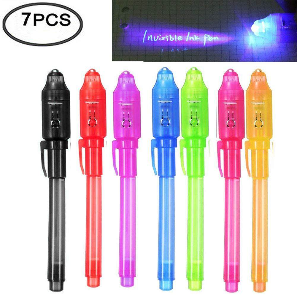 7 Pcs Uv Light Pen Set Invisible Ink Pen Kids Spy Toy Pen With Built-In Uv Light Gifts And Security Marking Specification:7pcs By Fashion Cabinet.