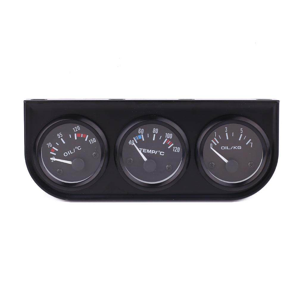 Iron+abs 52mm Triple Kit Car Oil N Water Temperature Meter+oil Pressure Gauge By Mayler Store.
