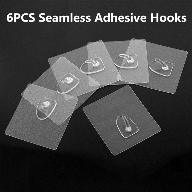 6PCS Seamless Adhesive Sticky Wall Hook Oilproof Strong Bathroom Kitchen Holder
