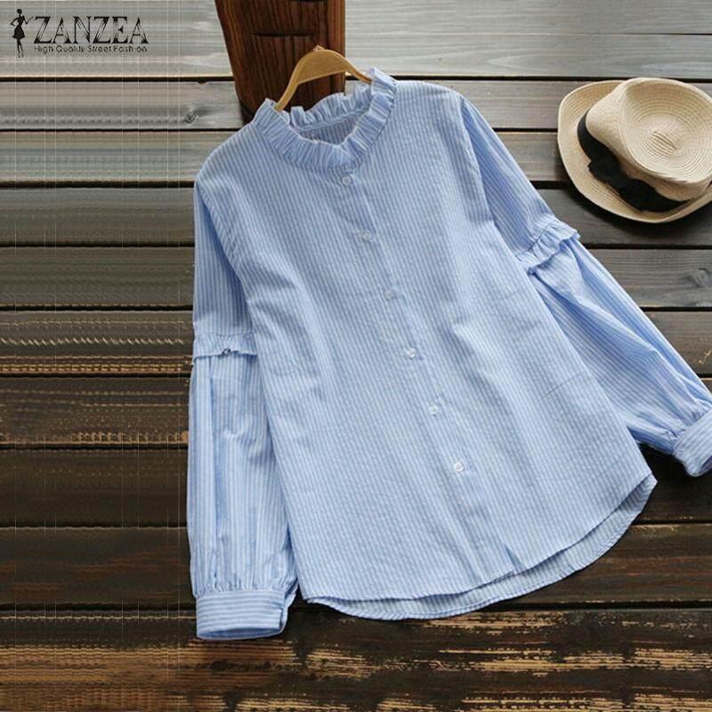 c8d3fe4578e885 ZANZEA Women Long Sleeve Striped Top Tee Blouse Loose Ruffle Frill Button  Down Shirt