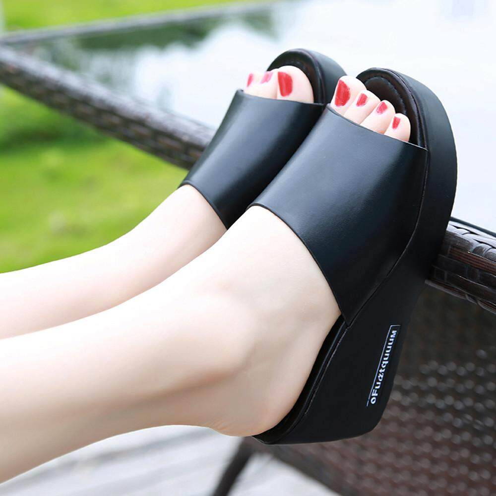db2f0ef6af09 Casual Women Fish mouth Platform High Heels Sandals Slope Sandals Slippers