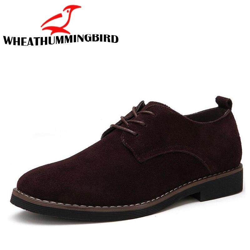 3296961cbeea Male Dress Shoes Pointed Toe Business Formal Shoes Men Office Shoes Suede  leather Retro Oxford Shoes