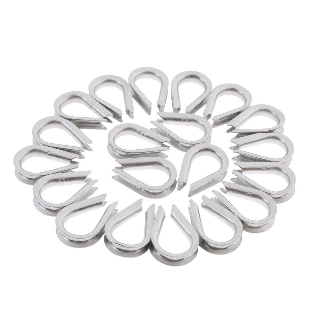 Miracle Shining 20 Pieces 304 Stainless Steel Wire Rope Cable Thimbles for 2-8mm Cable 4mm