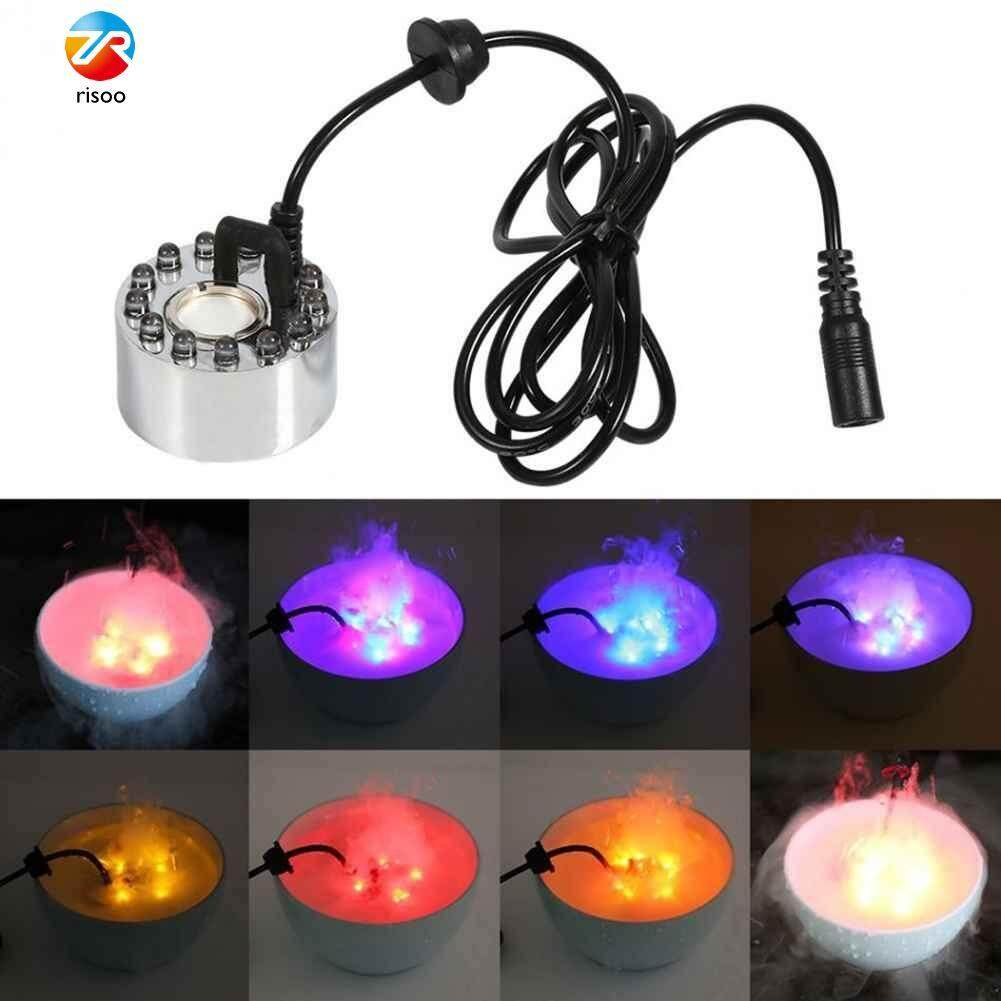 12 LED Mist Maker Fogger Atomizer Air Humidifier Fountain Pond Color Changing