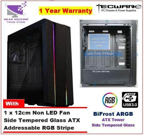#Tecware Bifrost ARGB Tempered Glass ATX Chassis ( With RGB Stripe )# Malaysia