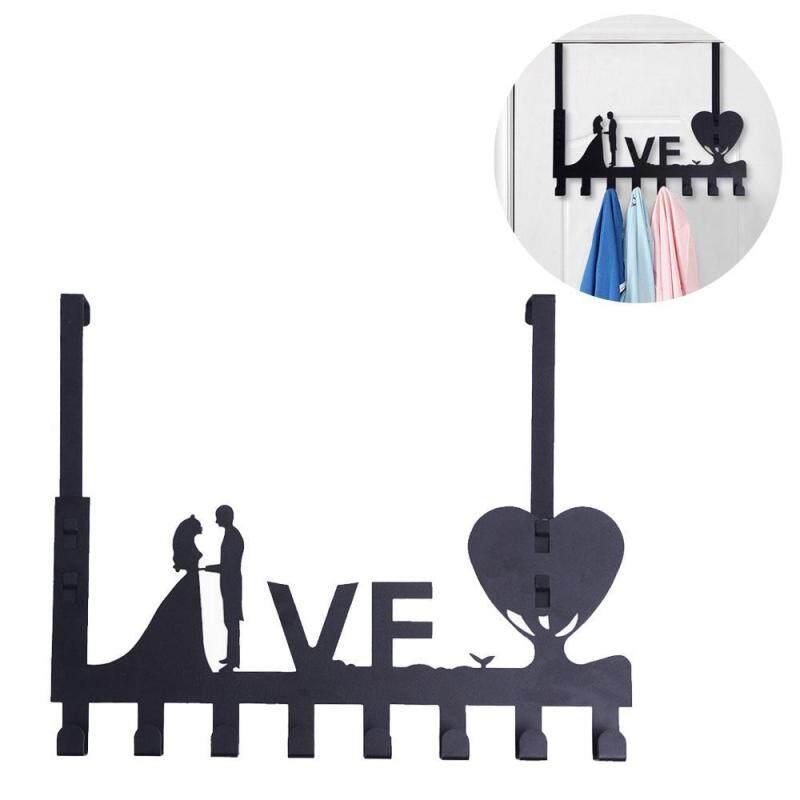 leegoal Over Door Hook Rack, Adjustable Decorative Organizer Hooks Creative Over Door Holder With Detachable Holder, 8 Hooks, 3M Adhesives For Home, Office, Kitchen