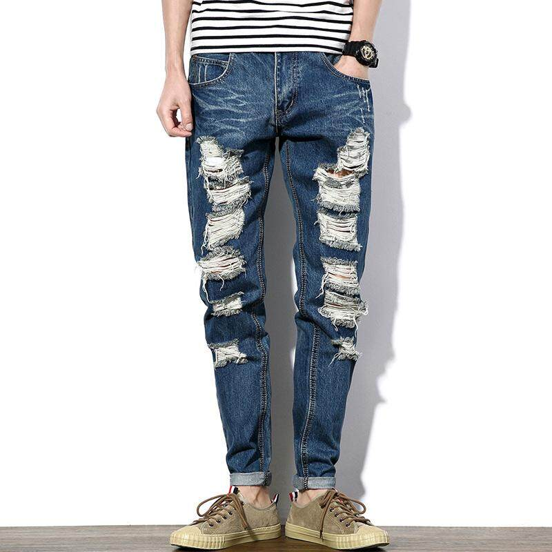 2f6a98651cb 2018 Newest Mens Casual Jeans High Quality Mens Streetwear Denim Trousers  Leisure Hole Joggers Men Hole