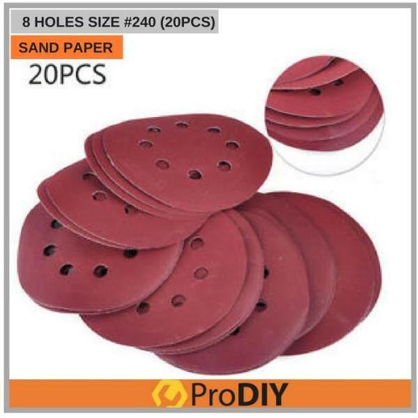 20Pcs 240 125mm 5 Inch Meshes 240#  Wood Self-adhesive Velcro Flocking Sandpaper Sanding Disc