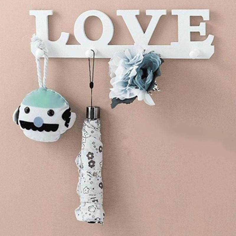 Vintage White LOVE Hook Door Clothes Robe Key Holder Hat Hanger Wall Home Tools