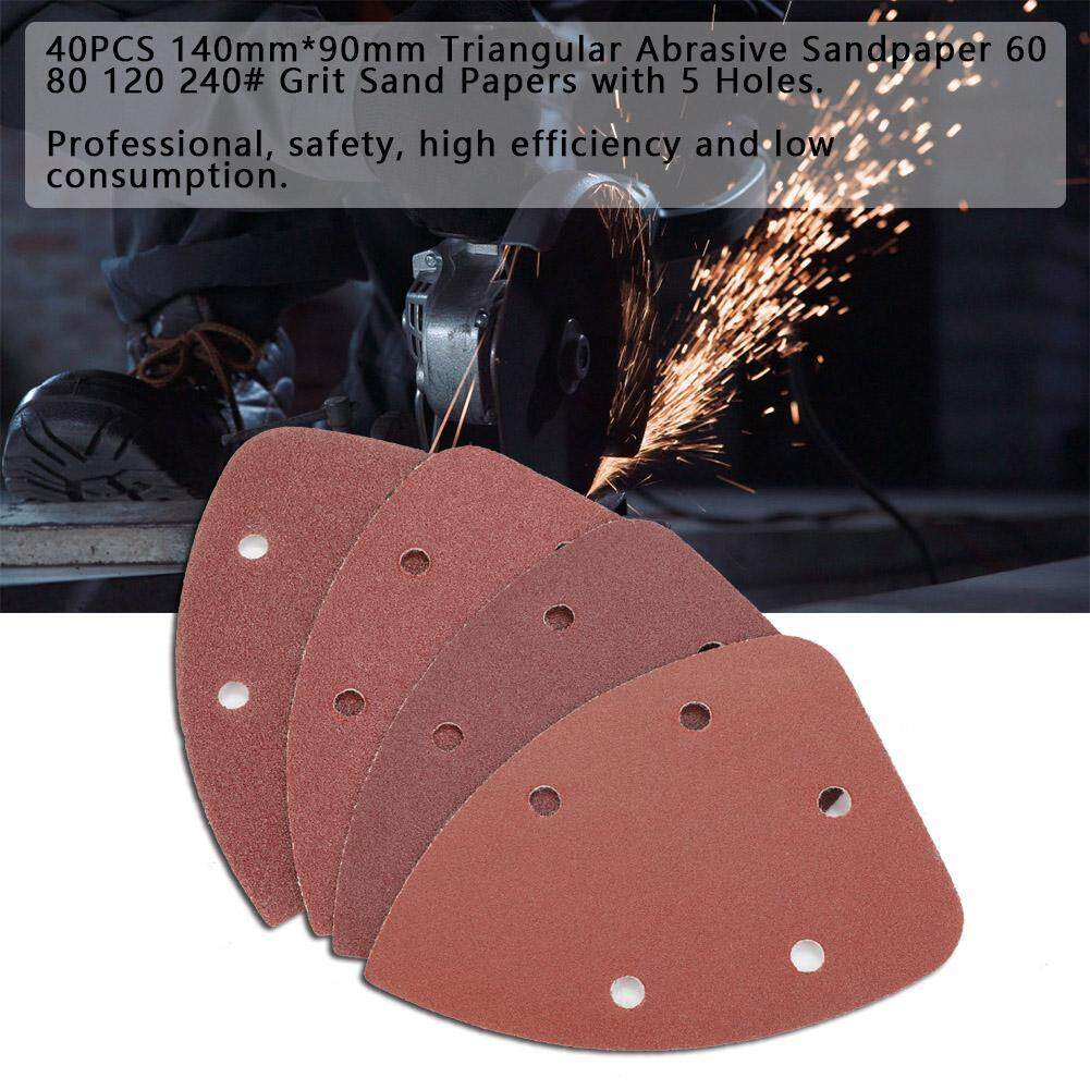 【promotions】40pcs 140mm*90mm Triangular Abrasive Sandpaper 60 80 120 240 Grit Sand Papers With 5 Holes By Lfinger.