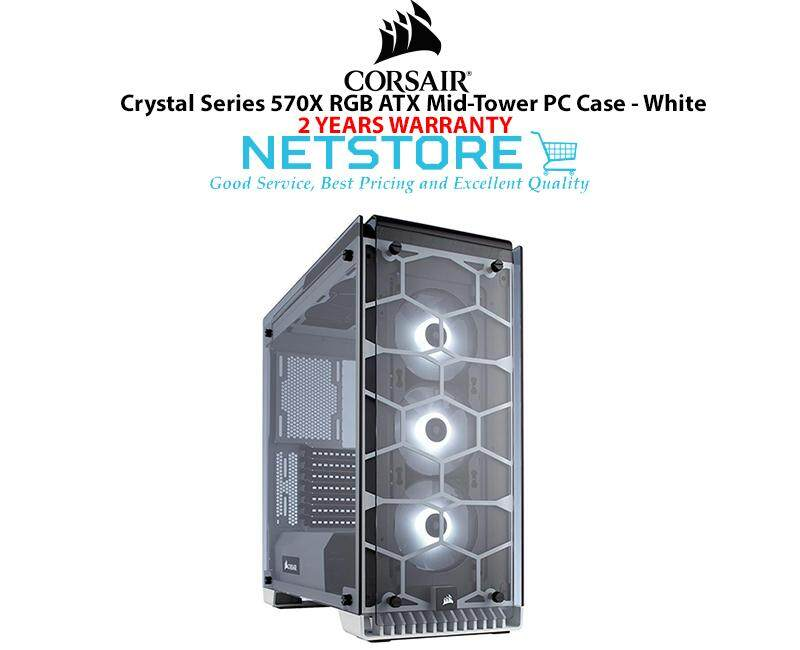 Corsair Crystal Series 570X RGB TG Steel ATX Mid Tower PC Gaming Dekstop Case White CC-9011110-WW Malaysia
