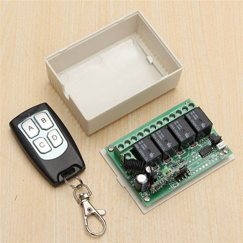 Ishowmall 4CH 433MHz Relay Wireless Remote Control Switch Transmitter Receiver Kit DC12V