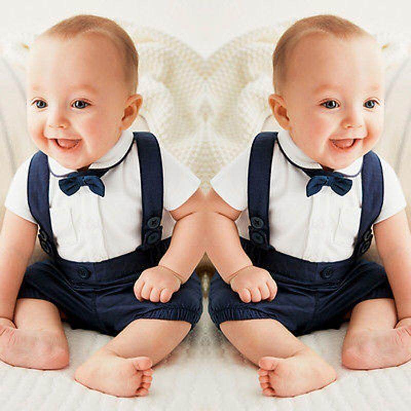 126c212bb3719 Newborn Baby Boys Gentleman Tuxedo Formal Suit Bow Tie T-shirt  Tops+Suspender Trousers