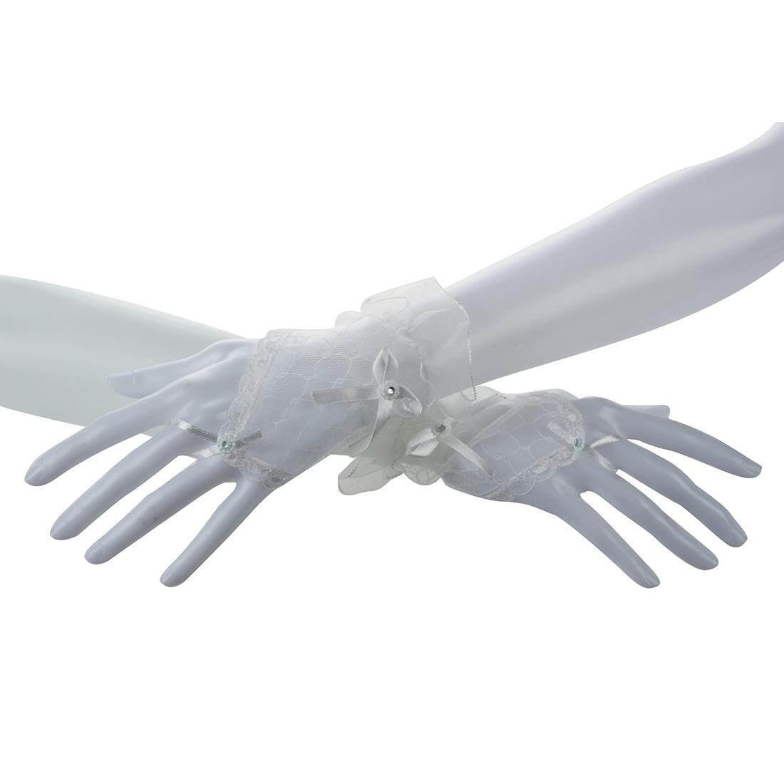 Lace Fingerless Gloves Burlesque Clubwear Party Wear Fancy Dress (White) (Intl)