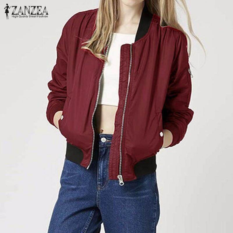 950fd92713 ZANZEA Long Sleeve Slim Jackets Women Autumn Winter Vintage Stand Collar  Celeb Bomber Coats Casual Solid