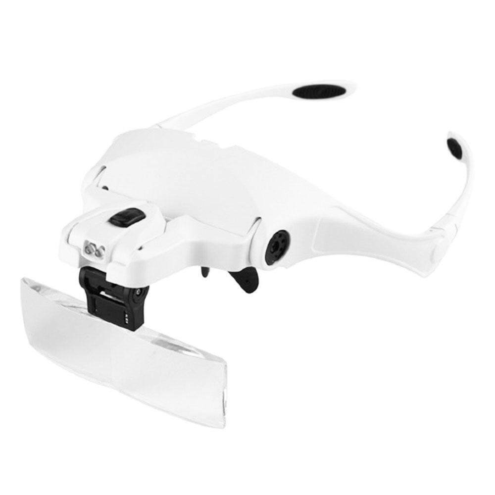 Womdee Headband Magnifier With LED Light, Handsfree Reading Head Mount Magnifier Glasses Light Bracket 5 Replaceable Lenses For Reading, Jewelry Loupe, Watch Electronic Repair(1.0X, 1.5X, 2.0X, 2.5X, 3.5X)
