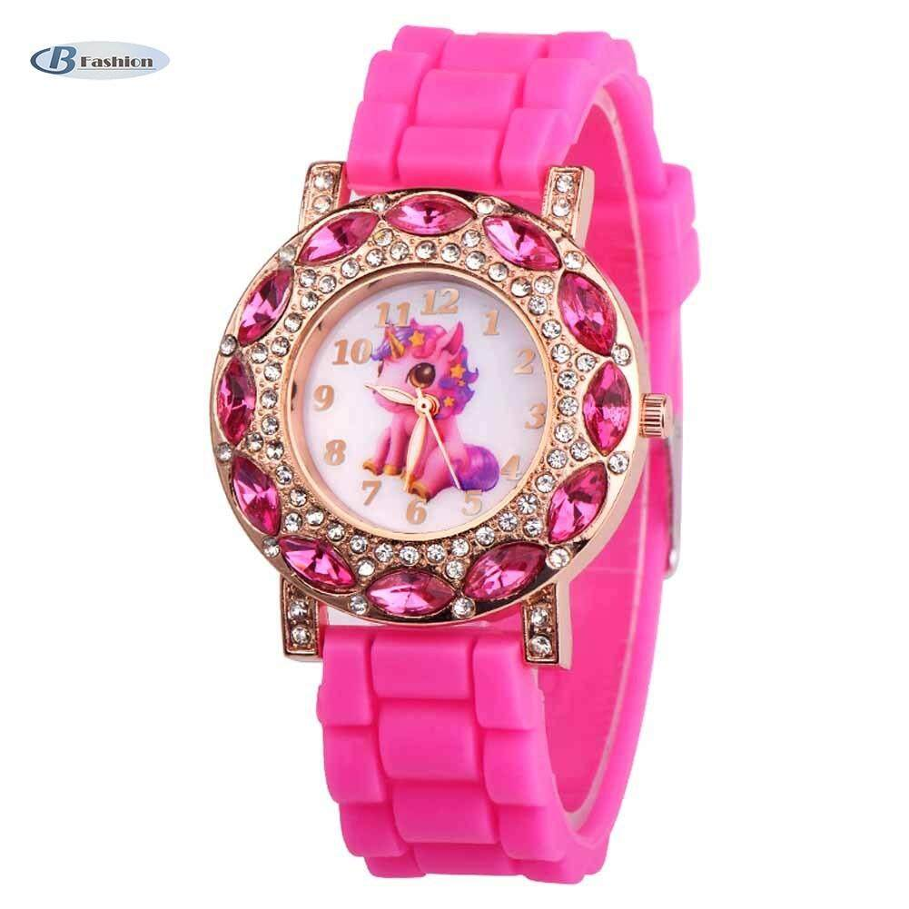 B-F Children Girl Wrist Quartz Watch Round Durable Unicorn Pattern Cute Casual Gift(Pink)��available�� Malaysia