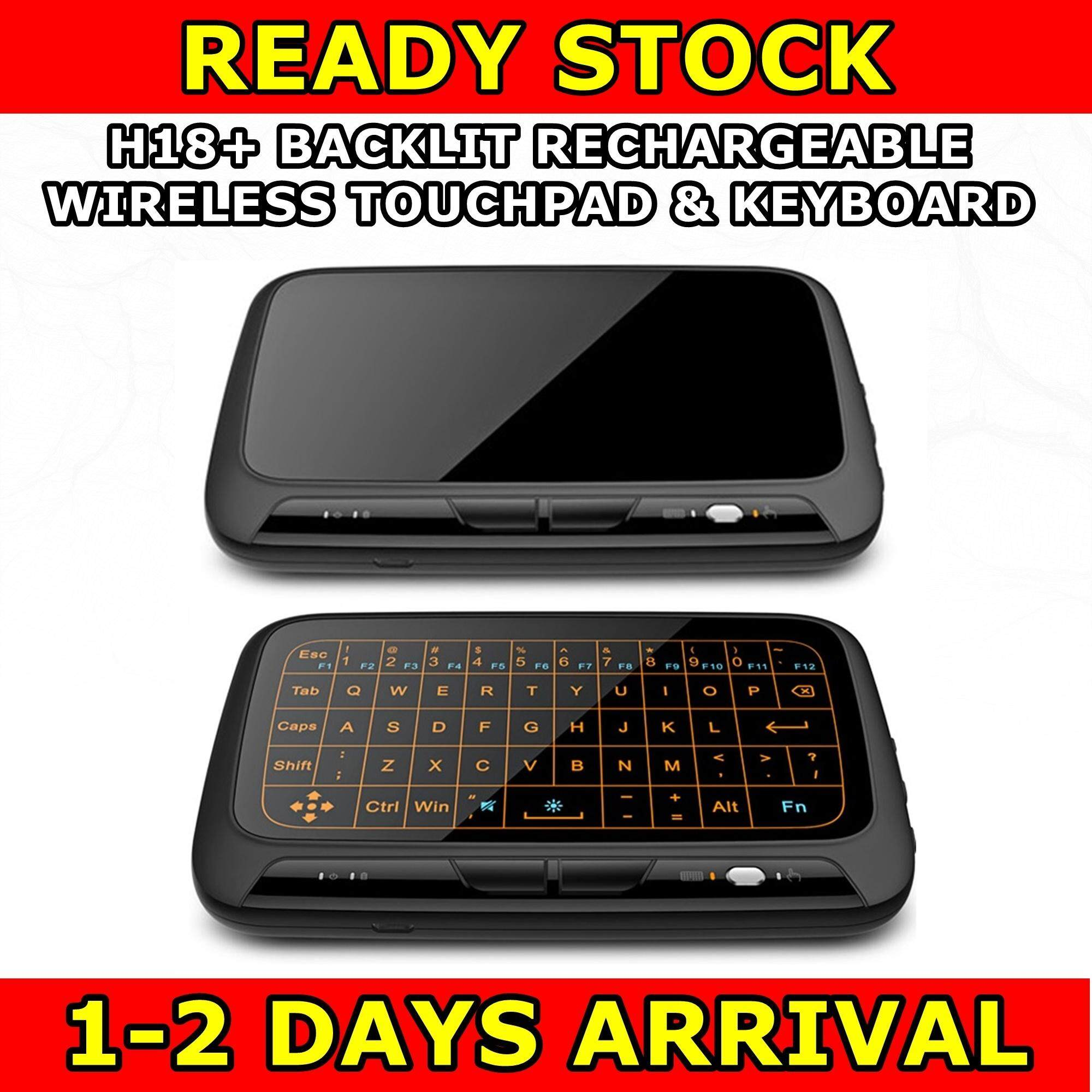 H18+ Air Mouse Full Touchpad Backlit Backlight Rechargeable Plus Wireless Mini Keyboard 2.4GHz Remote Control Gaming Touch Pad Smart TV PS3 TV Box PC Android Windows Malaysia