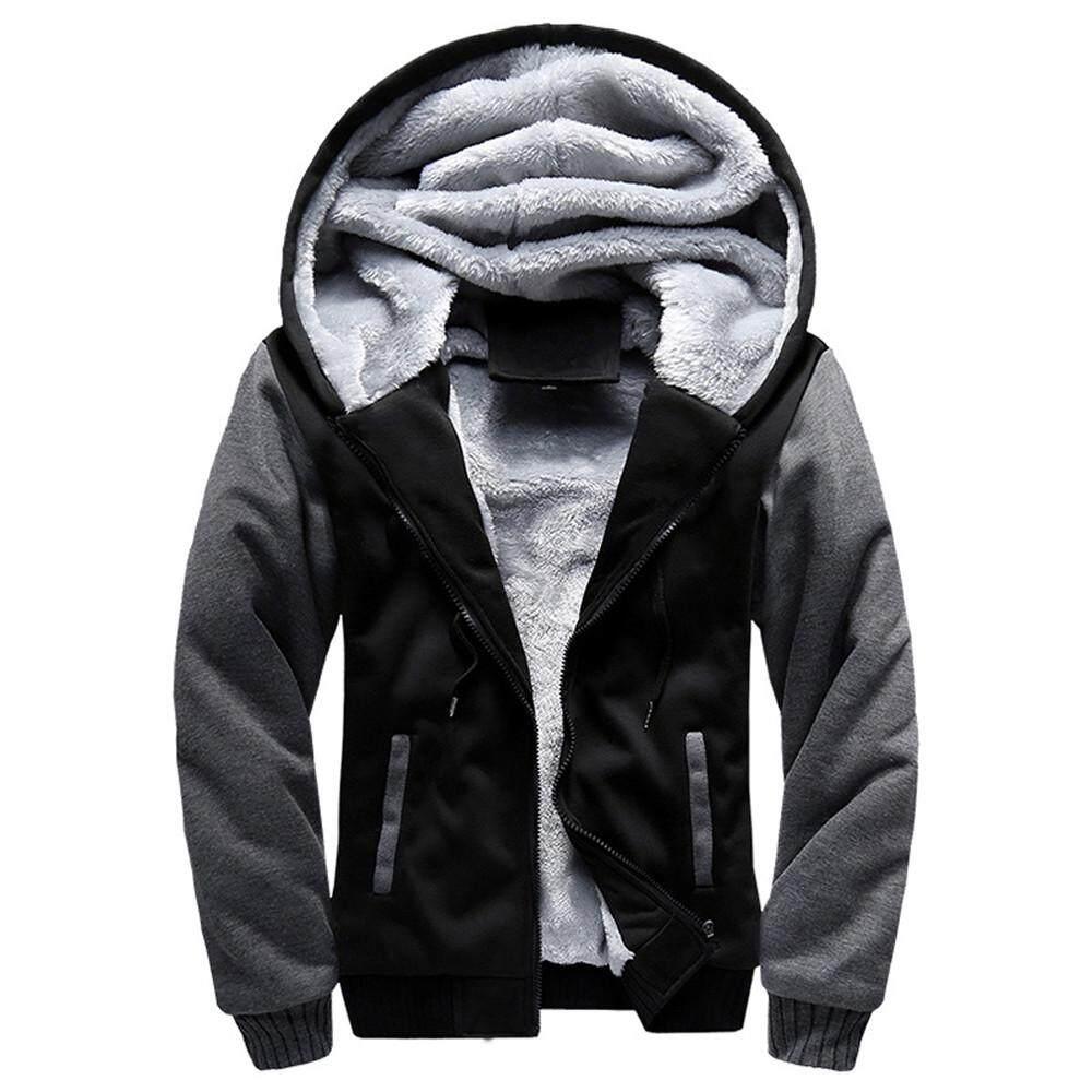 0dfbce5cb4d Rainny Mens M-5XL Hoodie Winter Warm Fleece Zipper Jacket Outwear Coat