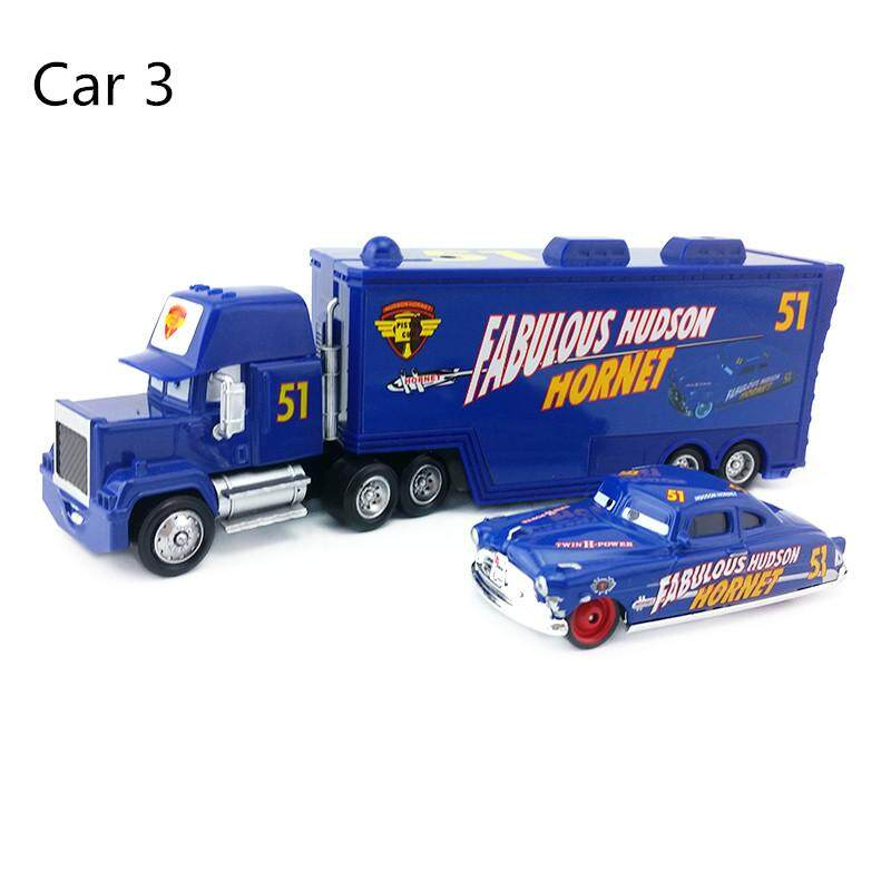 db605c8cb9694 6 styles Disney Pixar Cars Mack Lightning McQueen & Chick Hicks & King &  Fabulous Hudson Truck with small car Toy Car kit1:55 Loose