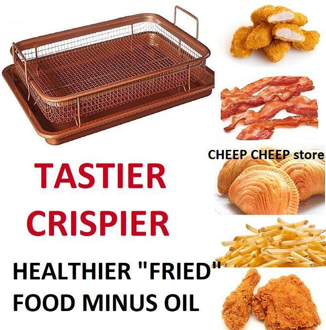 2 In 1 Copper Rectangle Crispy Tray For Crispier Tastier Healthier Food – Non Stick Oven Air Fryer Without Oil By Cheep Cheep.