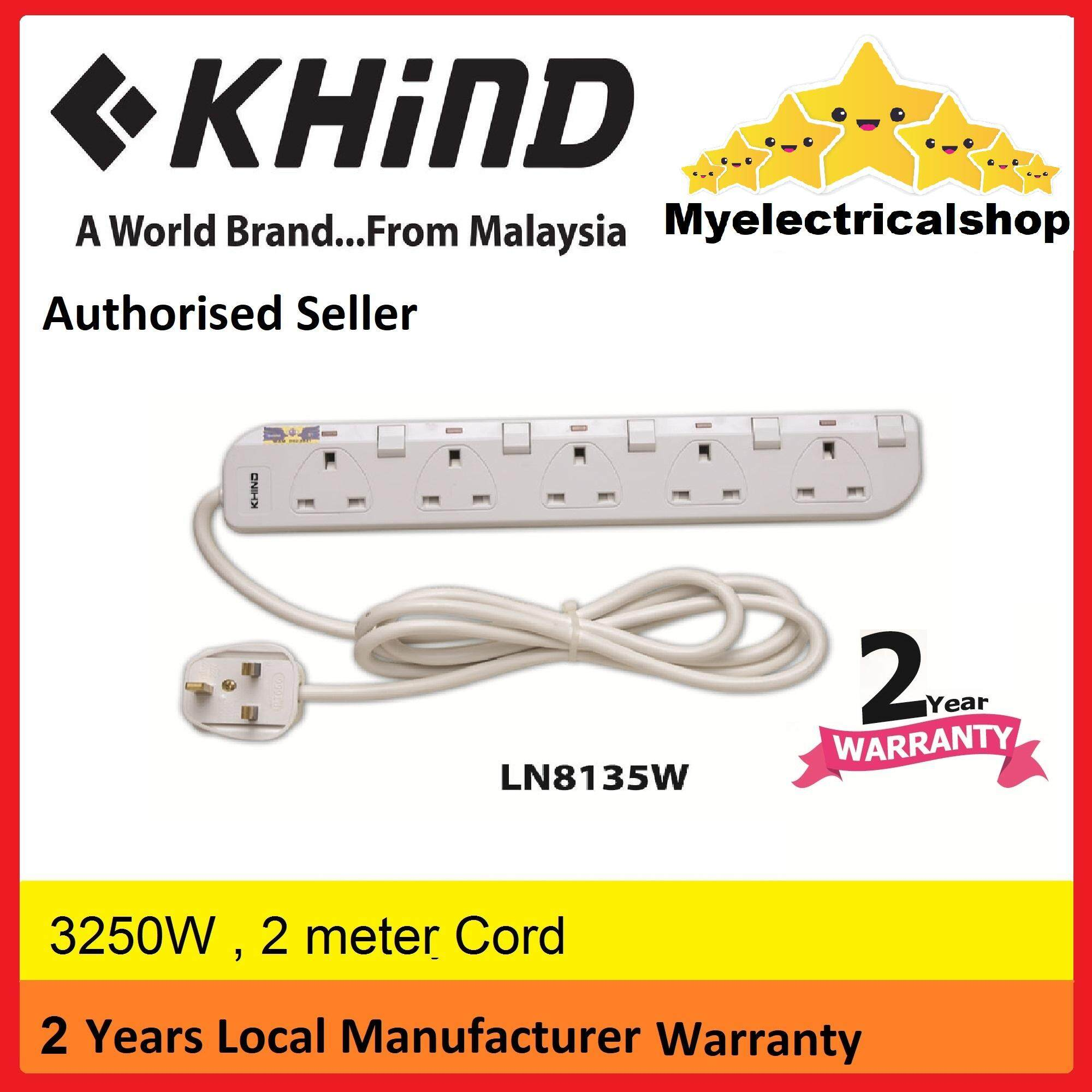 Home Electrical Buy At Best Price In Malaysia Power Cord And Plug Labeled Diagram Khind 5 Way Gang Trailing Socket Extension Ln8135w Myelectricalshop