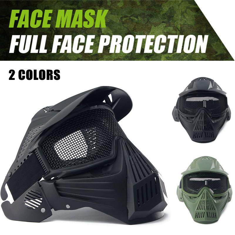 2PCS Outdoor Paintball Airsoft Full Face Protection Mask Cosplay Metal Mesh Goggles Black