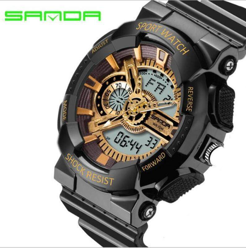 Original SANDA 799 G Style Military Waterproof Outdoor Sports Mens Shockproof Digital Watch (Black Gold) Malaysia