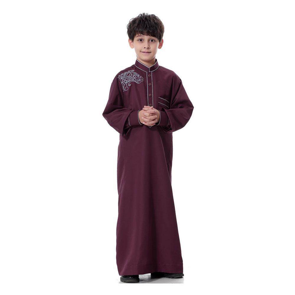 Goodgreat Long Sleeve Mock Neck Embroidered Middle East Arab Muslim Children S Robe By Good&great