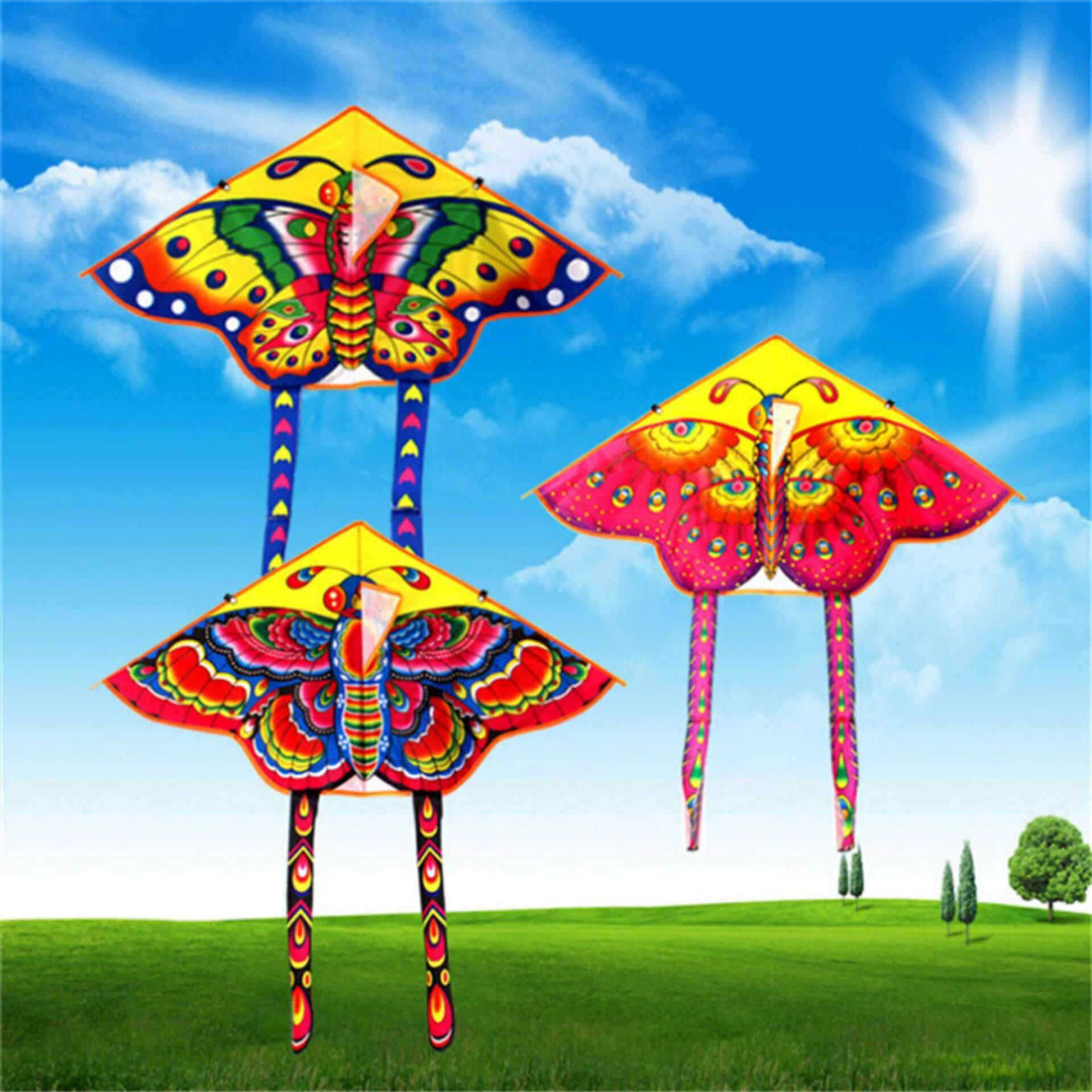 Butterfly Printed Long Tail Kite Children Kids Outdoor Garden Fun Toys By Blossom Mall.