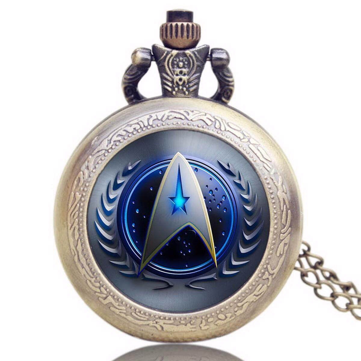 Unique Chic Style Star Trek Theme Pocket Watch with Necklace Chain, High Quality Fob Watch for Men, Women Blue Malaysia