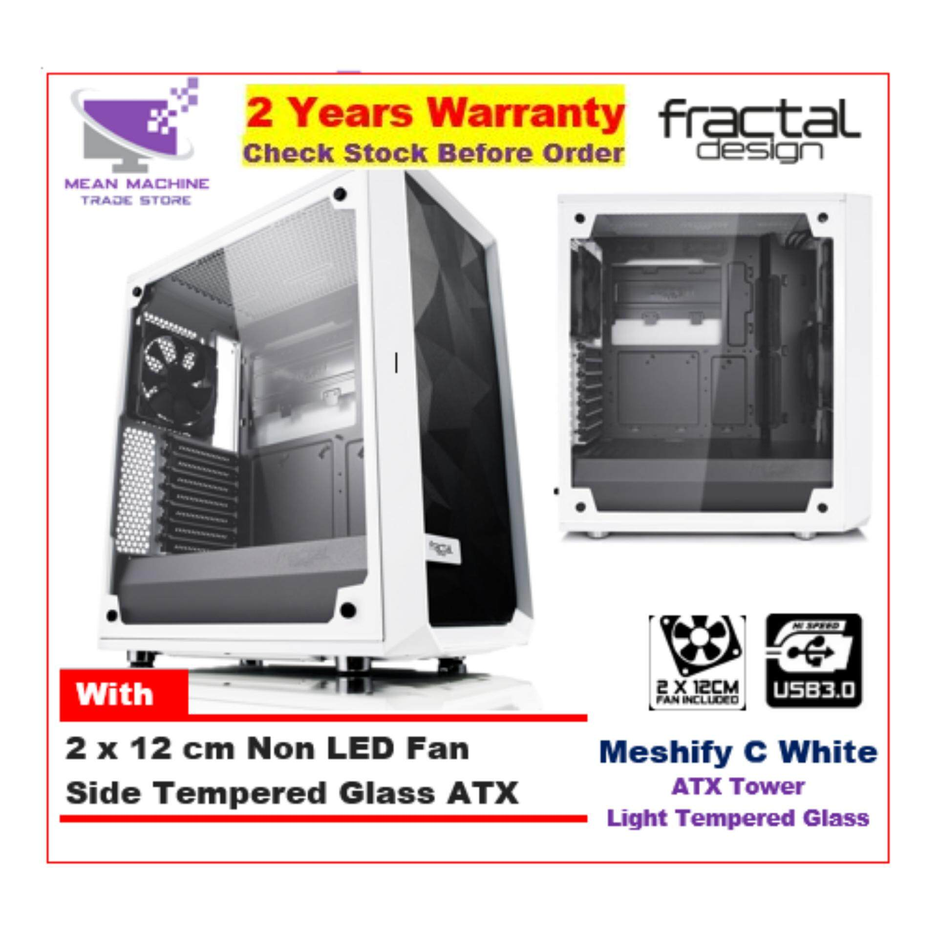 #Fractal Design Meshify C White Light TG ATX Chassis (With 3 X 12cm Fan) # Malaysia