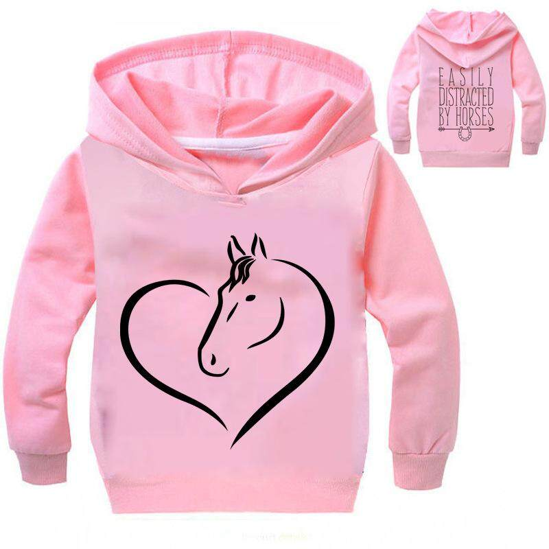 Lanbaoshi And Girl Sports Sweater Spring Autumn Long Sleeve Unicorn Print Hooded Top Children Cartoon Sweatshirt T-Shirt Kids Clothing By Lanbaoshi.