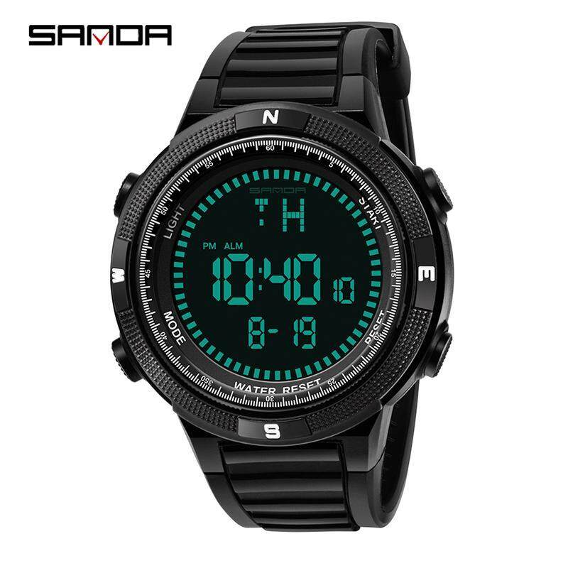 SANDA Mens Sports Watch Chronograph Alarm Clock Digital Watch Waterproof Dual Time Countdown Stopwatch Men Watch Malaysia