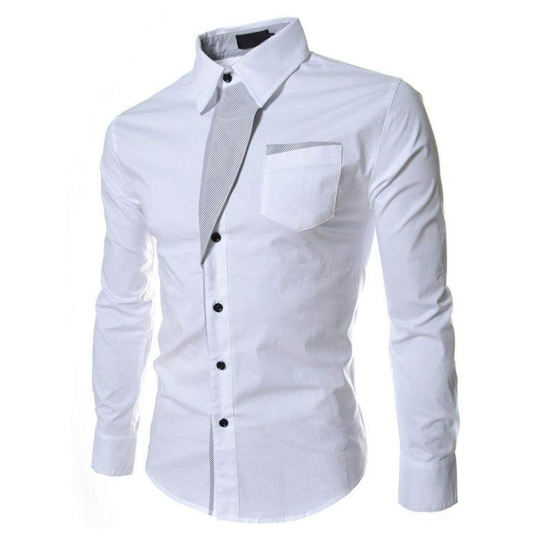 d92dba338a98 Autumn White Casual Male Long Sleeve Stripe Shirts Social Blouses Slim Fit  Shirts L