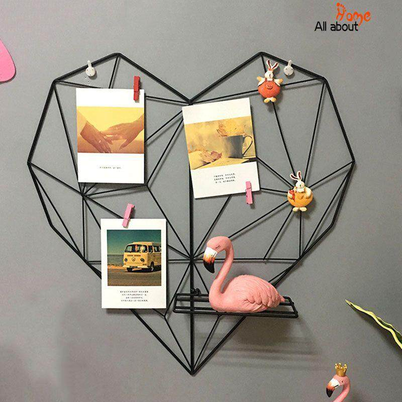 Abh Love Heart Shaped Iron Wall Hanging Photos Postcard Metal Grids By All About Home.
