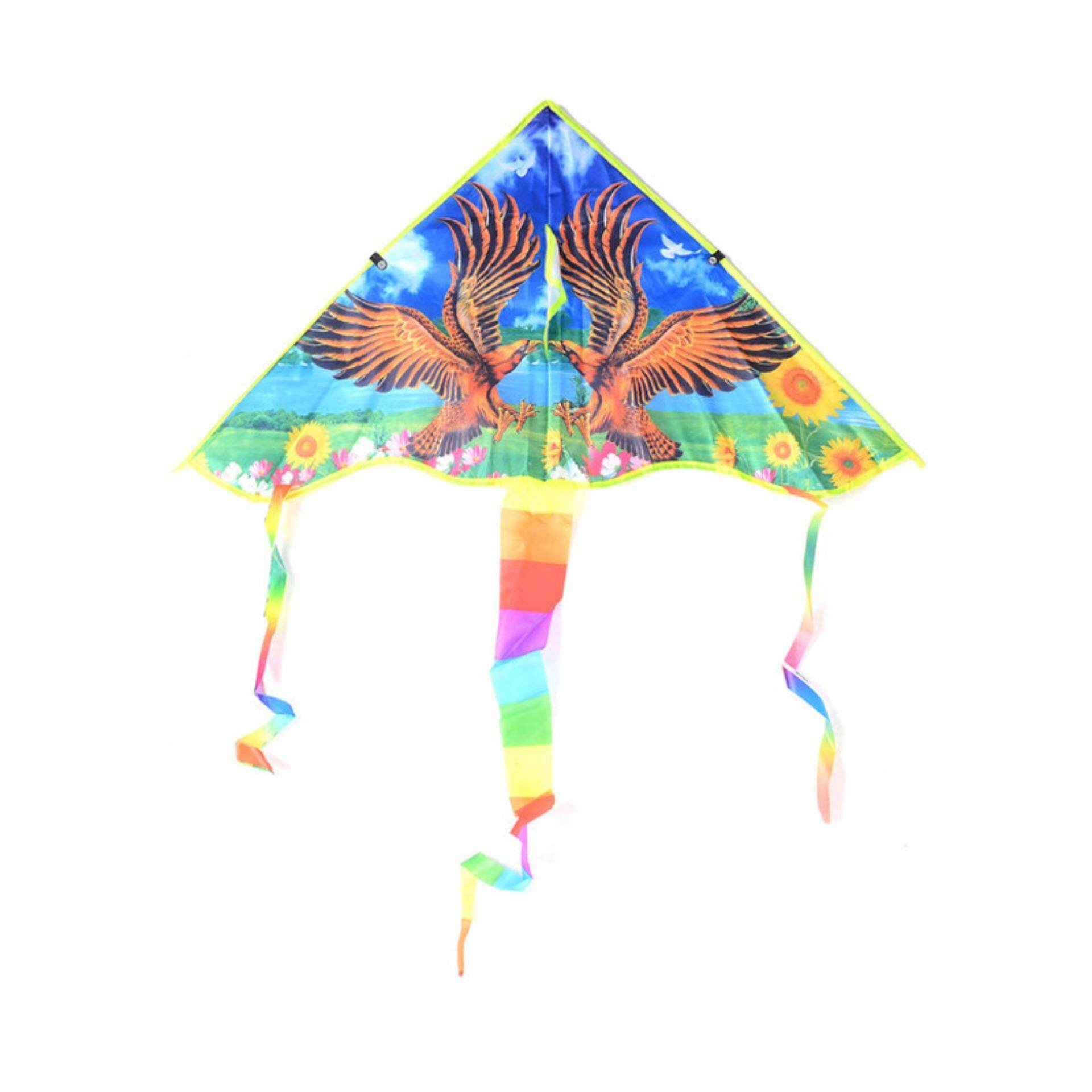 80cm Eagle Printed Long Tail Kite Children Kids Outdoor Garden Fun Toys By A-Liname.