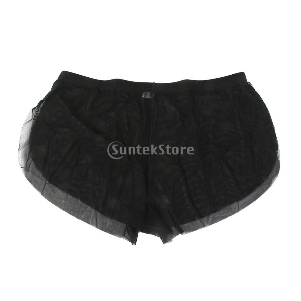 45e3563d0 Product details of Sexy Men Mesh Underwear See Through Boxers Trunks Briefs  Black XL -